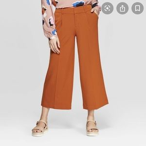 Orange Wide Leg Cropped Pants